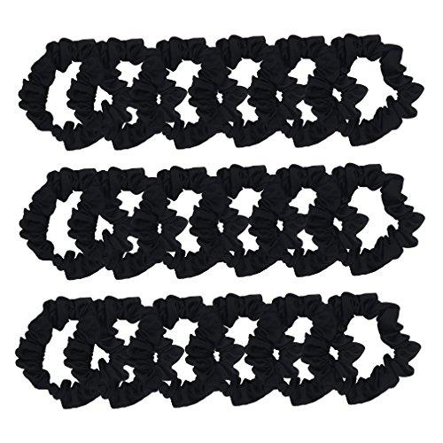 SUSULU Set of 24Pcs Scrunchies for Hair Satin Elastic Hair Ties Ponytail Holder Satin Fabric Hair Ties (Black) (Band Hair Satin)