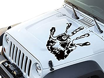 Amazoncom FGD Hand Print Skull Face Hood Decal Sticker Graphic - Jeep hood decalsgraphics for jeep wrangler hood decals and graphics www