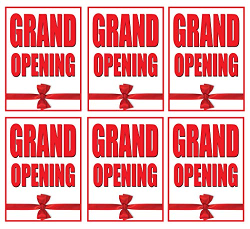 Grand Opening | Large Store Window/Wall Retail Display Paper Signs | Red on White | 18