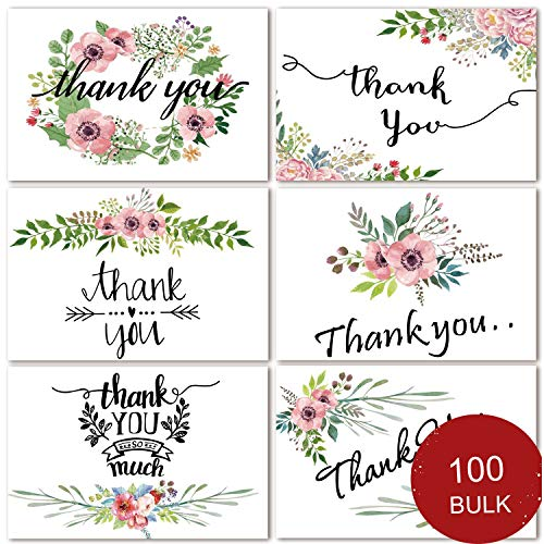 (100 Bulk Thank You Cards Floral Flower Thank You Notes for Wedding, Baby Shower, Bridal Shower, Business, Anniversary, 6 Design 4 x 6 inch Blank Thank U Cards with Adhesive Brown Craft Envelopes)