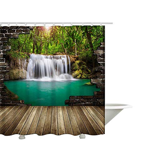 (QEES Nature View Shower Curtain Art Print Decor Waterproof Fabric Polyester Bath Curtain Sets with Free Hooks 60