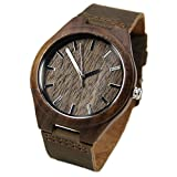 Topwell Walnut Wood watches for Men Brown Leather Strap Wristwatches Genuine Leather B