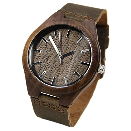 WIOR Walnut Wood Watches for Men Brown Leather Strap Wristwatches Genuine Leather Band with Gift Box