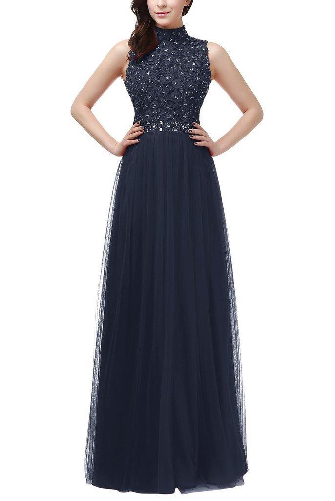 La_mia Braut Glamour Spitze High nech Abendkleider ballkleider Partykleider  Bodenlang A-linie Festlich: Amazon.de: Bekleidung