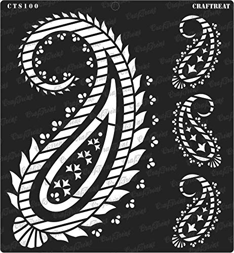 CrafTreat Stencil - Paisley | Reusable Painting Template for Journal, Notebook, Home Decor, Crafting, DIY Albums, Scrapbook and Printing on Paper, Floor, Wall, Tile, Fabric, Wood 12