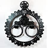 Modern Contemporary Mechanical Gear Wall Clock with Calendar Wheel Decor (Black)