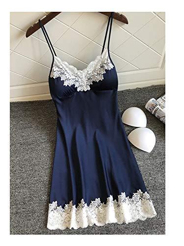 Hot Silk Robe Dress Lace Up Babydoll Nightgown Sexy Sleepwear Nightdresses Blue M -