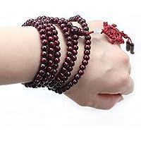 Personality Tibetan Sandalwood Prayer Beads Buddha Buddhist Meditation Bracelet LOVE STORY (Red)