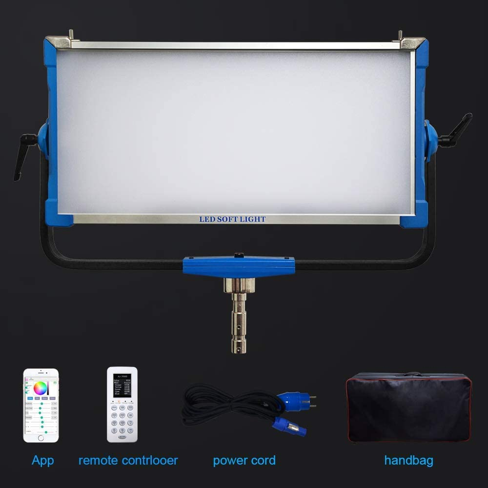 Yidoblo AI-3000C 300W RGBW LED Panel Lamp APP Control Soft LED Lamp 12 Photography Lighting Effects Set for Studio Video Film (300W Panel Blue)