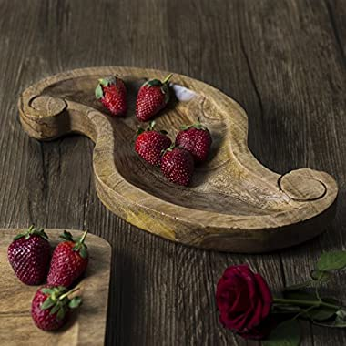 Gifts Country Style Wooden Serving Platter Fruit Snack Tray Dish - 12 inches Long Kitchen Dining Serveware