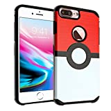 pokemon protective phone case - iPhone 8 Plus Case, DURARMOR Pokemon Go Poke Ball Case Dual Layer Hybrid ShockProof Ultra Slim Fit Armor Air Cushion Defender Protector Cover for iPhone 8 Plus Poke Ball