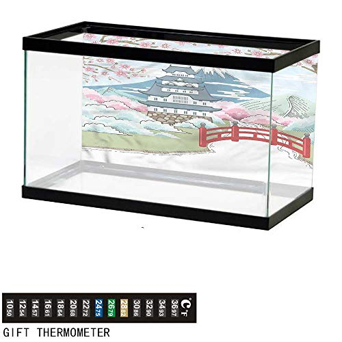 bybyhome Fish Tank Backdrop Japan,Fantasy Country Landscape,Aquarium Background,60