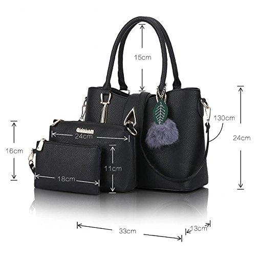 PU en Noir Messenger décor peluche Cuir Bleu minimaliste épaule sac Mme pq86w
