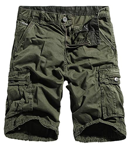 Multi Pocket Work Shorts - chouyatou Men's Casual Elastic-Waist Loose Multi-Pocket Chino Cargo Work Shorts (30, Cargo-Army)