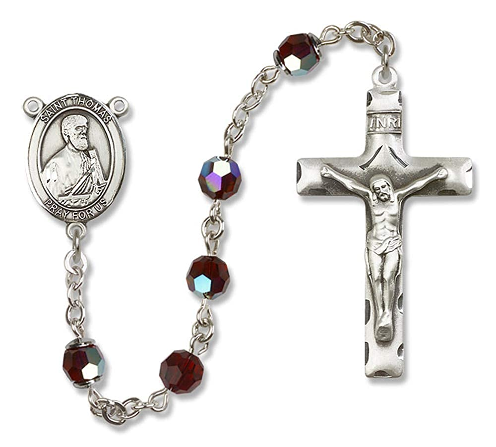 Austrian Tin Cut Aurora Borealis Beads All Sterling Silver Rosary with Garnet Thomas the Apostle Center is the Patron Saint of Architects//Blind People. 6mm Swarovski St