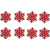 8pcs Christmas Drink Coasters Red Snowflake Cup Mats Red Wine Tea Coffee Cup Bowl Pad Holder Dinner Table Placemat Decor Gift for Xmas Party Restaurant Dining Room