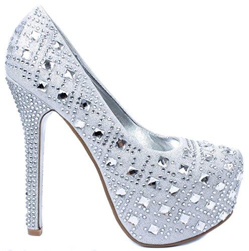 Bella Luna Miranda-01 Womens Rhinestone High Stiletto Heel Platform Dress Pump Shoes,Silver,5.5