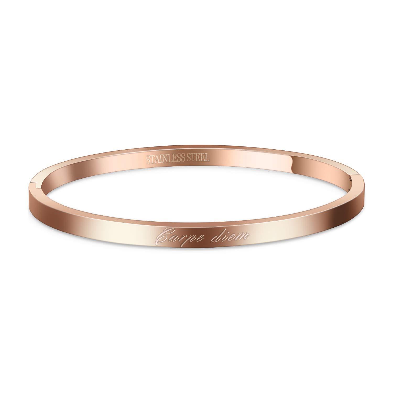 AURSTORE/® Bracelet Jonc Fin en Acier Inoxydable 316L avec Message Carpe Diem Largeur 4MM Couleurs au Choix