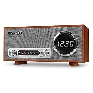 Victrola Broadway Vintage Altavoz Bluetooth con radio, alarma y reloj digital