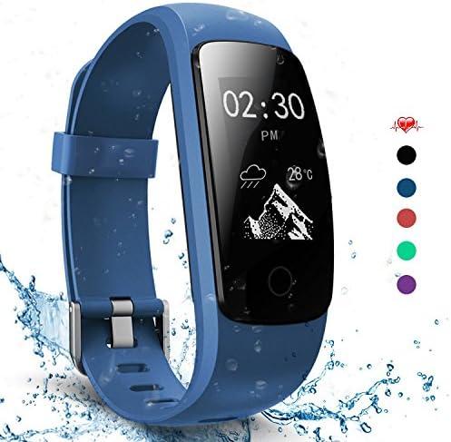 AngelaKerry Slim Touch Wasserdicht Fitness Tracker Mit Herzfrequenz,Smart Fitness Armbanduhr Pulsuhr Schrittzähler,Bluetooth Schwimmen Activity Tracker GPS Für Herren/Damen