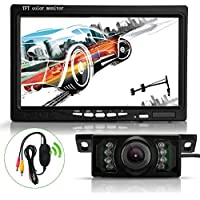 Oksale® 7 Inch TFT LCD Screen Car Rear View Backup Mirror Monitor +Wireless Parking Night Vision Reverse IR Camera Kit