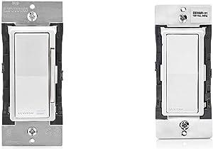 Leviton DW6HD-1BZ Decora Smart Wi-Fi 600W Incandescent/300W LED Dimmer, No Hub Required, Works with Alexa, Google Assistant & DD0SR-1Z Decora Companion Switch for Multi-Location Control, 120VAC, 60Hz