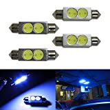 iJDMTOY (4) Ultra Blue 2W High Power 1.72 42mm LED Bulbs 578 576 211-2 212-2 214-2 For Car Interior Dome Lights, Cargo Area Trunk Room Lights, etc
