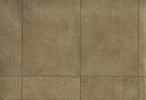Wallpaper Designer Tan Brown and Gold Faux Alligator Skin Stiched Rectangles
