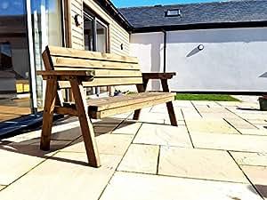 Al aire libre jardín Consilium asiento banco fabricado por árbol jardín soluciones–6ft–rústico marrón–Heavy Duty–hecho a mano en el Reino Unido–tratada a presión