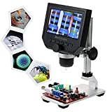 "KKmoon 600X 4.3"" LCD Display 3.6MP Electronic Digital Video Microscope Portable LED Magnifier for Mobile Phone QC/Industrial Inspection with Metal Stand Built-in Rechargeable Lithium Battery"