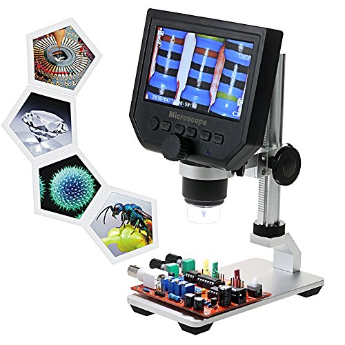 """KKmoon 600X 4.3"""" LCD Display 3.6MP Electronic Digital Video Microscope Portable LED Magnifier for Mobile Phone QC/Industrial Inspection with Metal Stand Built-in Rechargeable Lithium Battery"""