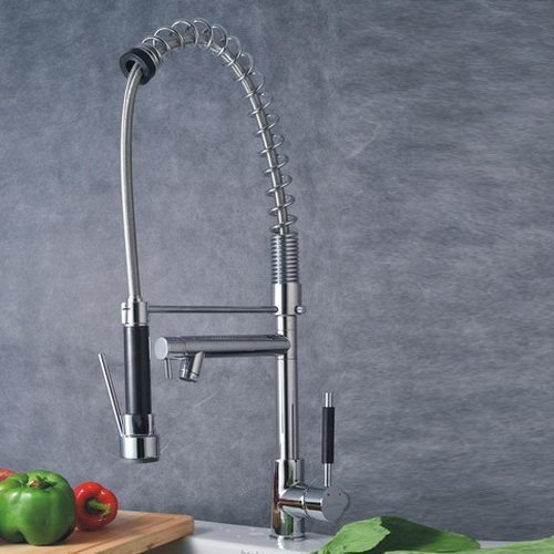 Traditional Swivel Spout Finish - Lightinthebox Deck Mount Chrome Finish Solid Brass Kitchen Faucet Pull Out Spray Two Spouts 360 Swivel One Handle Sink Mixer Taps Single Hole Tall Curve Spout Bar Faucets Unique Designer Basin Faucets