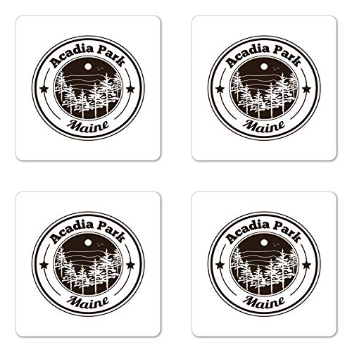 Lunarable Acadia Coaster Set of Four, Acadia Park Maine Lettering Touristic Attraction Emblem Like Image with Trees, Square Hardboard Gloss Coasters for Drinks, Dark Brown White ()