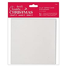 "Papermania Create Christmas Cards W/Envelopes 6""X6"" 12/Pkg-White, Red, Gold & Silver Glitter"