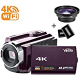 Camcorder,Yolife 4K Ultra HD Digital Video Camera Recorder with Wide Angle Lens,30FPS Wifi Camcorder with Night Vision,3.0 LCD 270 Degree Touchscreen and 2 Batteries(Purple) (Purple)