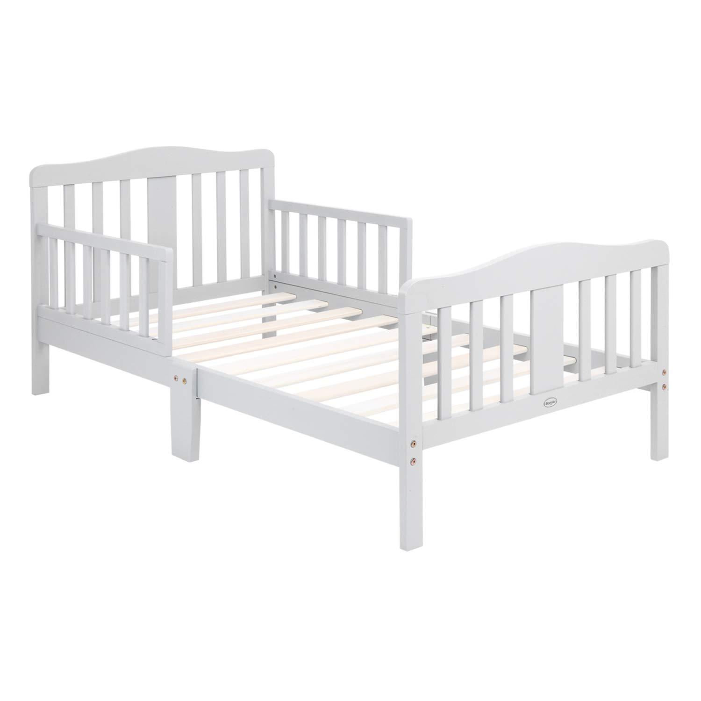 Toddler Bed Toddler Wood Bed Frame w//Safety Guardrails Gray