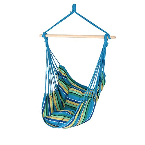 Sunnydaze Hanging Rope Hammock Chair Swing, Doubled Cushion Seat, Indoor or Outdoor Use, Ocean Breeze