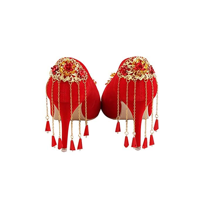 Vivioo Prom Sandals Red Shoes Suede Fringed Bride Wedding Tip High-heeled Dress Golden Flowers Autumn Female Tassel 8cm Heel 6