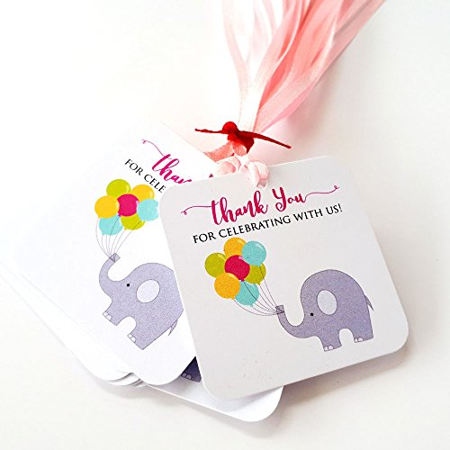 Pink Thank You for Celebrating with Us Elephant Favor Tags - Birthday Baby Shower Party - Set of 12
