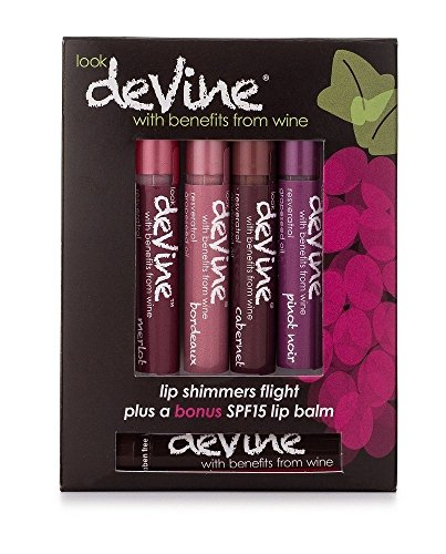deVine Beauty Lip Shimmer Flights- Dark Blends with Bonus SPF15 Sangria lip balm- Anti-Aging and Ultra Moisturizing using the Benefits of Wine
