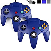 2 Packs Classic Long Wired Joystick Controller, EEEKit Game Solution Kit For Nintendo 64 N64 Console (Blue)