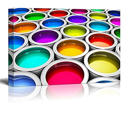 Abstract Creativity Concept Group of Tin Metal Cans with Color Paint Dye - Canvas Art Wall Art - 16