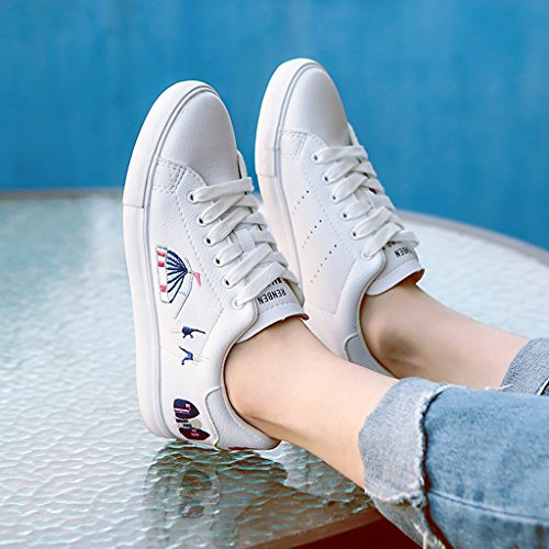 à Mode Blanc Chaussures la brodées Casual Skateboard Femmes Up Sweet Appartements des Lace Baskets ftTFwZq5x5