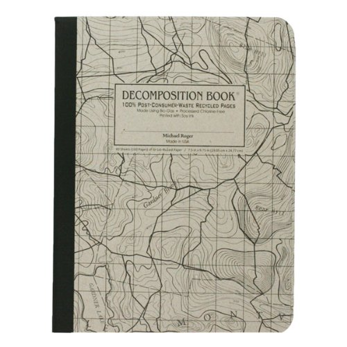 Michael Roger Topographical Map Decomposition Book, Grey Cover with Black Printing, 7.5 x 9.75 Inches, Grid Pages