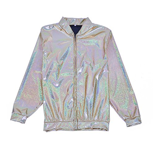 Holographic Gnrique Large Jacket Foil Festival Silver Metallic Bomber Fancy Coat Dress Accessory FqqwSOCx