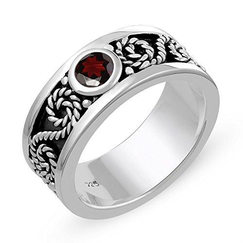 Ring Stone Genuine (Genuine Gemstone Ring in .925 Sterling Silver-Garnet Ring)