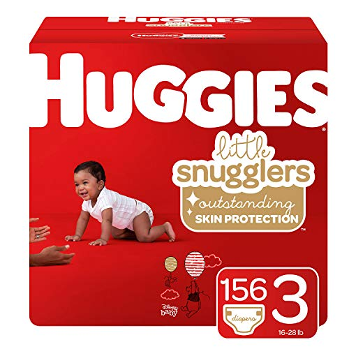 Huggies Little Snugglers Baby Diapers, Size 3 (fits 16-28 lb.), 156 Ct, Economy Plus Pack (Packaging May Vary) ()