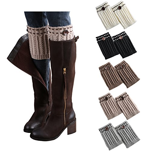 Bestjybt Womens Short Boots Socks Crochet Knitted Boot Cuffs Leg Warmers Socks (5 Pairs-Style B) ()