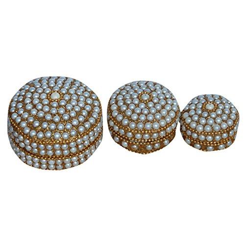 Kuber Industries Sindoor Dani Stone & Moti Beaded Jarkan Work|Silver Coin Box|Ethnic Dibbi Set|Jewellery Box|Ring & Earing Organiser Set of 3 Pieces (White) Hand03 from Kuber Industries