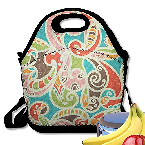 Starobos Neoprene Lunch Bag Tote Reusable Insulated Waterproof School Picnic Printed Yellow Paisley Abstract Vintage Colored Curves Brown
